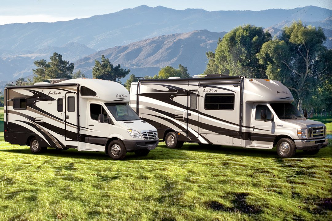 RV's Parked in Breathtaking Mountain Landscape